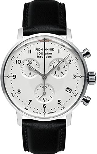 Junkers Annie di ferro | bauhaus | cronografo | quadrante bianco | pelle nera 5096-1