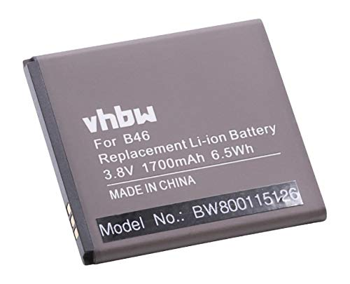 vhbw Litio polímero batería 1700mAh (3.8V) para móvil Smartphone teléfono BQ Aquaris E4