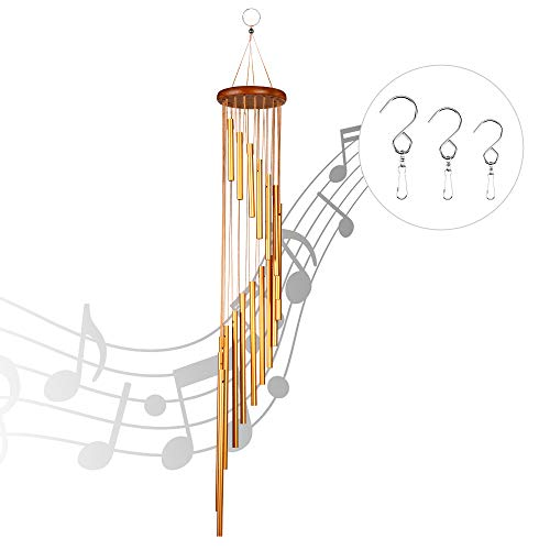 Martvex Wind Chimes for Outside, 36 Inches Wind Bell With18 Aluminum Alloy Tubes & 3 S-Hooks, Memorial Wind Chimes Outdoor, Best Gift or Outdoor Decor for Garden/Yard/Patio/Porch/Home (Golden)