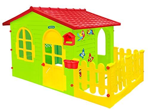 Mochtoys Spielhaus für Kinder | Haus für drinnen und draußen Einfach zu montieren Hergestellt aus UV-beständigem Kunststoff Enthält Aufkleber (Haus + Garten)