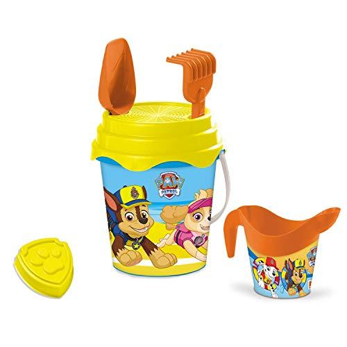 Mondo Mondo-28243 Bucket Paw Patrol-Set Plage – Seau Renew Toys et Accessoires : Tamis, râteau, Pelle, Moule, arrosoir Inclus 28243, Jaune et Rouge