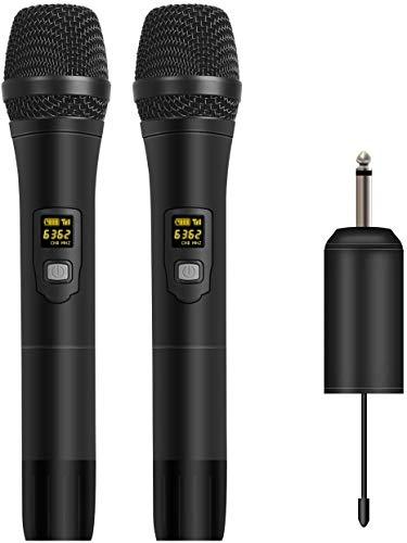 Depusheng W2 Altoparlante UHF con microfono a LED portatile con microfono wireless UHF con ricevitore portatile