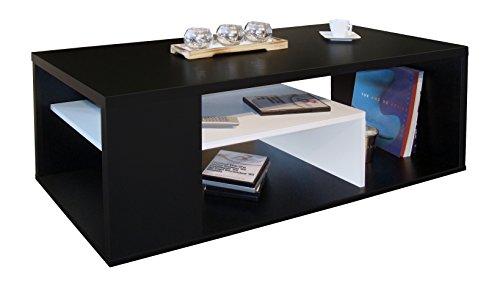 Berlioz Creations Melinga salontafel hout, zwart en wit, 111 x 50,5 x 41 cm