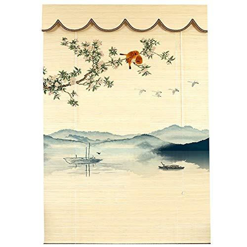 Bambusrollo Rollos Schlafzimmer/Galerie Rollos für Innenfenster Dekor, 70% Blackout Bambusfarben mit Wellenschürze, 85 cm / 105 cm / 125 cm / 145 cm Breite (Size : 125×260cm)