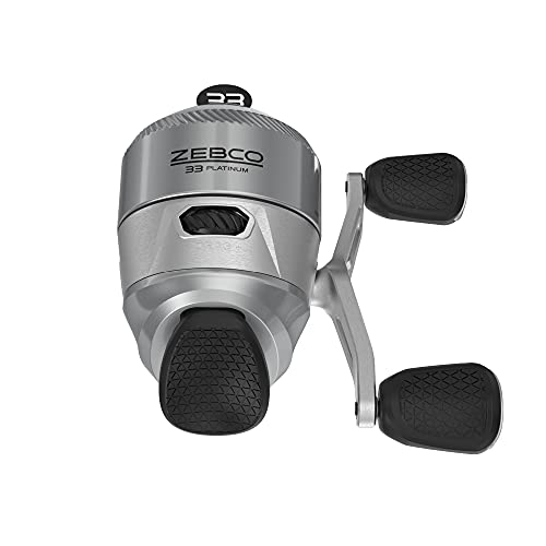 Zebco 33 Platinum Spincast Fishing Reel, 4+1 Bearings with a Smooth and Powerful 4.7:1 Gear Ratio and Instant Anti-Reverse Clutch with a Smooth Dial-Adjustable Drag, Silver