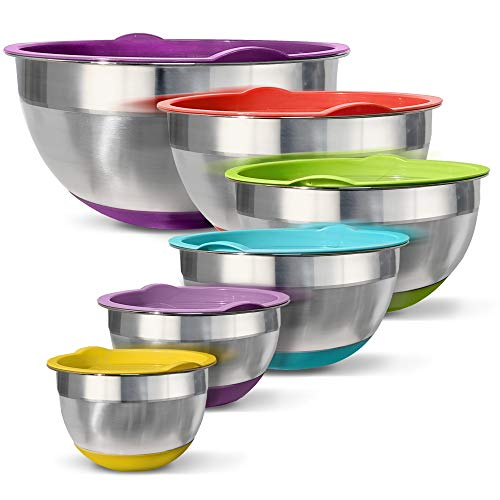 Stainless Steel Mixing Bowls (Set of 6) – Non Slip Colorful Silicone Bottom with Lids, Nesting for Space Saving Storage, Polished Mirror Finish, Ideal for Cooking, Baking & Serving, Food & Salad Prep.