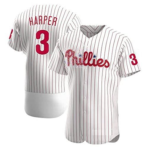 ZZZT Uniforme de béisbol de los Hombres, Hárpèr # 3 Phīllīès Barball Barball Camisa, Uniforme Militar, Transpirable, Secado rápido, Lavable, 5-L