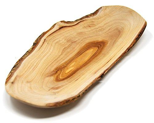 Lashuma Premium decoratieve schaal, vlakke fruitschaal, 100% olijfhout, verfijnd handgemaakt ovaal houten schaal 30 x 14 cm