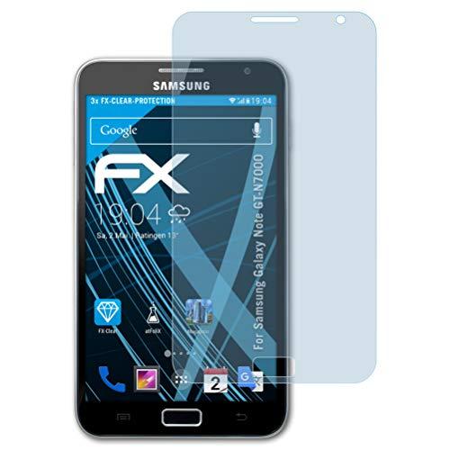 atFolix Schutzfolie kompatibel mit Samsung Galaxy Note GT-N7000 Folie, ultraklare FX Displayschutzfolie (3X)