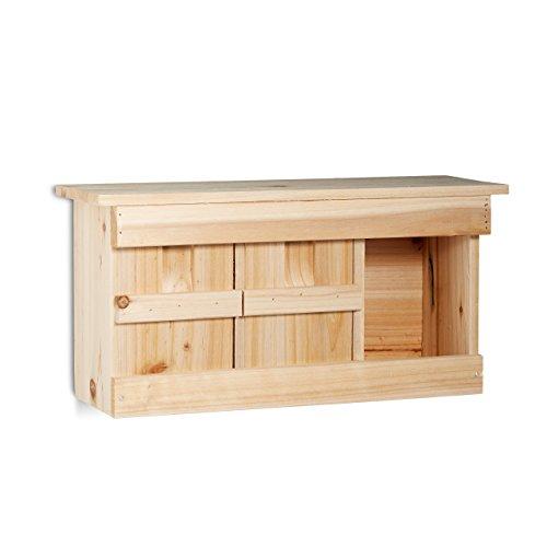 Relaxdays Nestkast, spatten, 3 nestkamers, hout, vogelhuisjes, h x b x d: 21,5 x 43 x 14,5 cm, natuurlijke kleuren