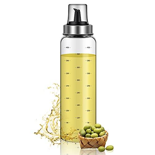 Quikobo Aceitera, vinagre y aceitera, botella de cristal de 500 ml con gran capacidad, dispensador de aceite de oliva, vertedor de acero inoxidable, cristal y vinagre para cocina (500 ml × 1)