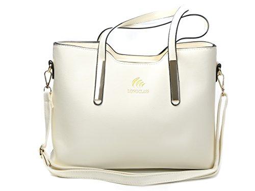 LONGCLASS Weiße Damen Tasche weiß creme ELEGANTO Handtaschen Damen weiss Sommer Tasche Damen weiß...