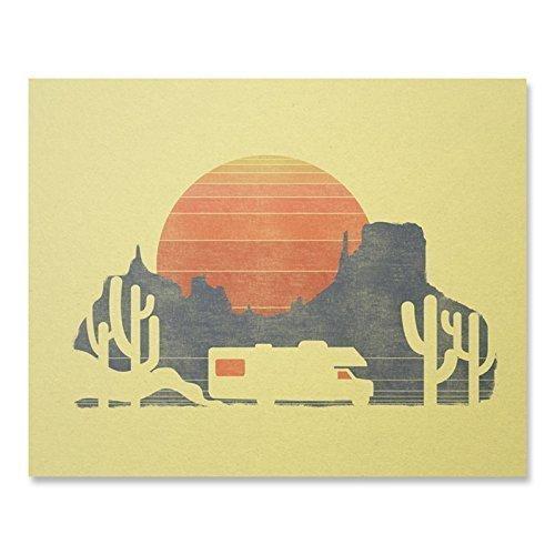 RV Sunset Vintage Print