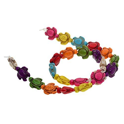 yotijar Cuentas de piedra natural teñidas en lotes para joyas con collar de pulseras DIY, multiples perlas de tortuga