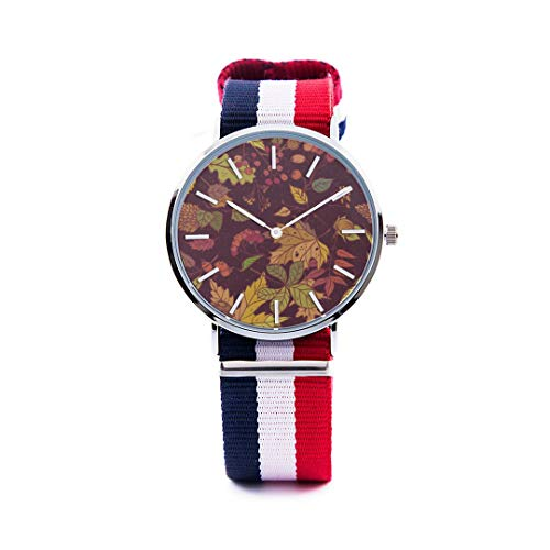 Unisex Fashion Watch Abstract Background Maple Leaf Aspen Leaf Pumpkin Autumn Design Print Dial Quartz Stainless Steel Wrist Watch with Nylon NATO Strap Watchband for Women 36mm Casual Watch -  NQEONR, 20190321-NylonWatch-347-684285655