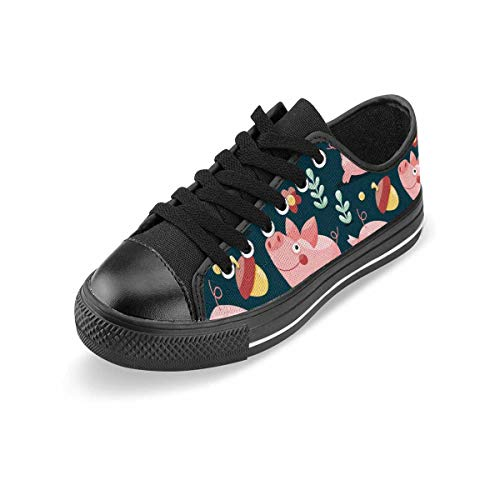 INTERESTPRINT Women's Fashion Canvas Shoes Low Top Lace Up Sneakers Casual Walking Shoes Pigs, Plants and Acorns 11 B(M) US