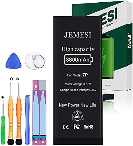 JEMESI Batteria per iPhone 7 Plus 3800mAh, Batteria Sostitutiva ad alta Capacità,31% in più rispetto ad altre Batterie, con kit di Riparazione Completo, Istruzioni per l'uso - 12 Mesi di Garanzia