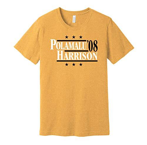 Polamalu & Harrison '08 - Camicia Parodia Campagna Politica - Versione Oro e Nero - Stampa Death Ray Oro XXL
