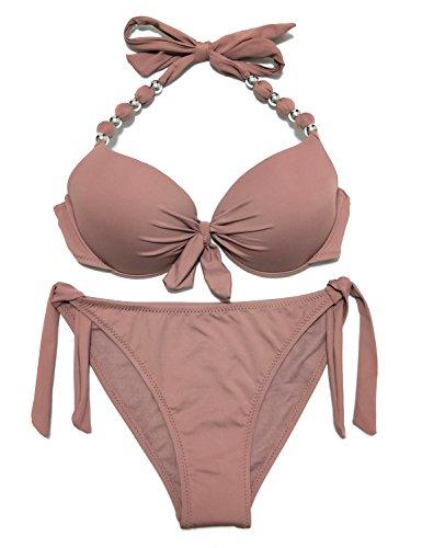EONAR Damen Seitlich Gebunden Bikini-Sets Abnehmbar Bademode Push-up-Bikinioberteil mit Nackenträger, Khaki, (Größe:34-36)70B/75A/75B
