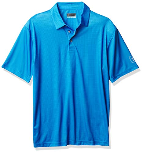PGA TOUR Men's Printed Gingham Short Sleeve Polo Golf Shirt, Blue Sea Star, X Large