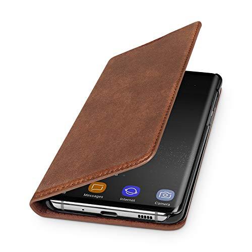 WIIUKA Echt Ledertasche - TRAVEL Nature - Hülle für Samsung Galaxy S20+ Plus, ITALIENISCHES Leder, Vintage Braun, mit Kartenfach, extra Dünn, Tasche, Premium Leder