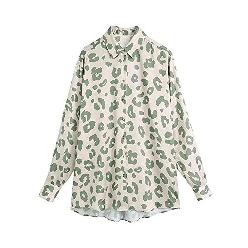 Mujeres Vintage Patrón de Animales Imprimir Casual Blusa Blusa Damas Largas
