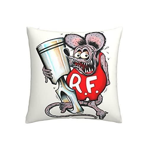 Rat Fink - Funda de cojín suave con impresión 3D, funda de almohada decorativa para sofá familiar, cuadrada, 45,7 x 45,7 cm