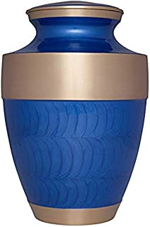 Liliane Memorials Shiny Navy Funeral Cremation Urn with Wide Gold Band Banda Blue Model in Brass for Human Ashes; Suitable for Cemetery Burial; Fits Remains of Adults up to 200 lbs, Large/200 lb,
