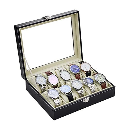 Joyero 10 Rejillas Reloj Joyero Hombre Organizador Para Relojes Cuero Pu Caja De Reloj Caja Regalo Embalaje Joyería Vitrina