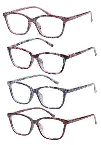SOOLALA Anti-Blue Blocker Light Reading Glasses 4 Pack Quality Fashion Colorful Readers, 1.75