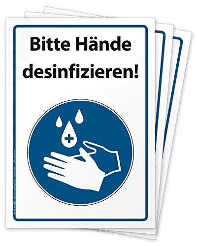 3 hochwertige Aufkleber Bitte Hände desinfizieren, Hinweisschild, Folie selbstklebend DIN A4 (210 x 297 mm)