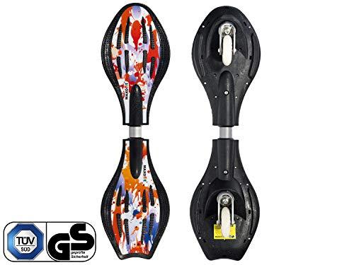 MAXOfit Waveboard Pro Close Mini | TÜV/GS geprüft | Bis 129 kg | 72x19,5x11 cm | Mit Leuchtrollen, Tasche und Zubehör für Kinder (Mini Fire)