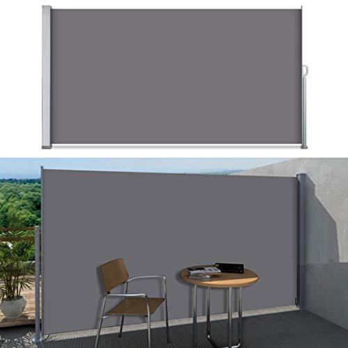 SVITA Seitenmarkise Kassetten-Rollo Sichtschutz Sonnenschutz Seitenrollo für Balkon Terrasse Garten 160x300cm Dunkelgrau Anthrazit