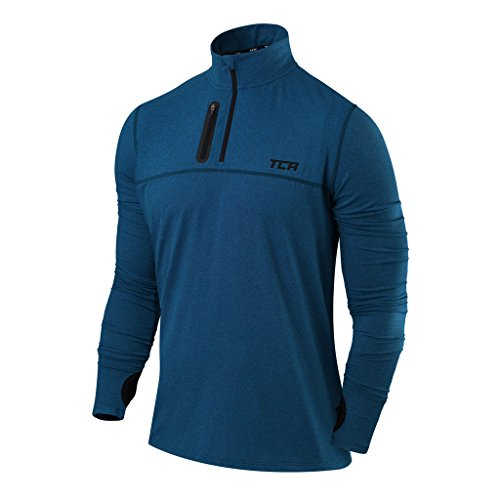 TCA Men's Fusion Pro Quickdry Long Sleeve Half-Zip Running Shirt - Deep Blue, X-Large