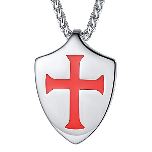 FaithHeart Caballeros Templarios Escudo Collar Amuleto de Protección Colgante Acero Inoxidable 316L Talismán de Protección para Hombres Regalo Personalizado DIY