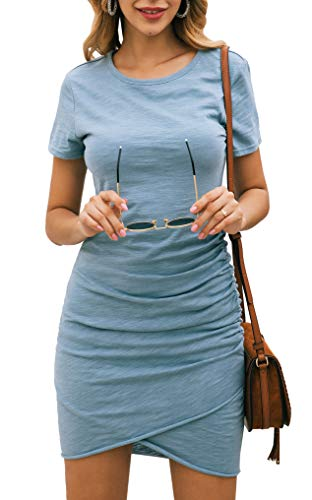 BTFBM Women's 2020 Casual Crew Neck Short Sleeve Ruched Stretchy Bodycon T Shirt Short Mini Dress (104Blue, Medium)