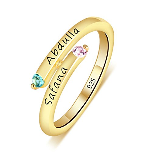 Quiges Damen Personalisiert Gravur Name Drehung Solitär Ring 18 Karat Gold 925 Sterling Silber Zirkonia Geburtsstein Ringgröße 53