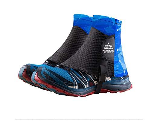 AONIJIE Hombres Mujeres Impermeable Durable Polainas Trail Running para Pierna Camping Montaña Senderismo (Azul)