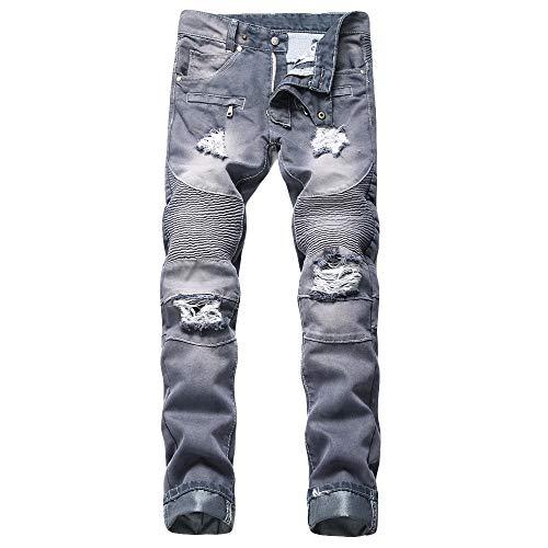 KPPONG 2019 Herren Herbst Winter Hosen Neue Gedruckt Einzelne Jeans Machen Alte Gedruckt Plus Größe Gerade Reißverschluss Hosen