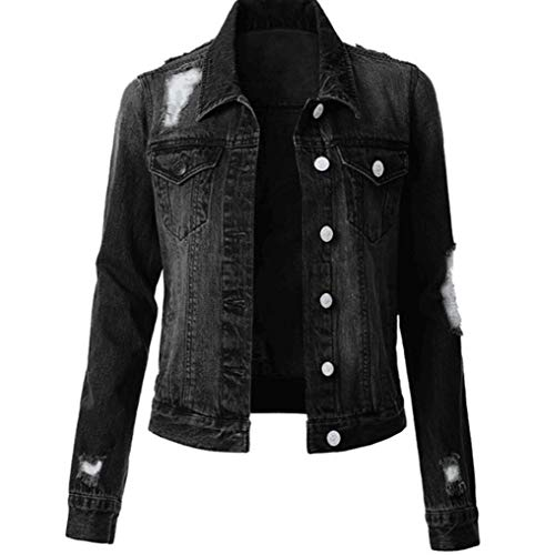 ZYLL Damen-Jeansjacke Damen-Jeansjacke Einreiherige, zerrissene Jeansjacke,Schwarz,XL