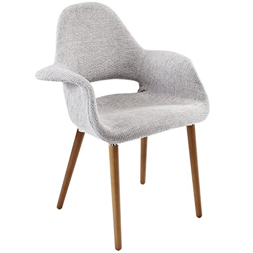 Modway Aegis Mid-Century Modern Upholstered Fabric Dining Chair with Wood Legs in Light Gray