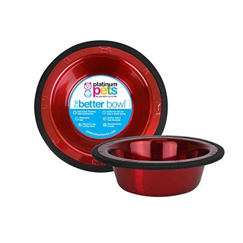 Platinum Pets 4Cup Edelstahl Schale mit breitem Rand, rot