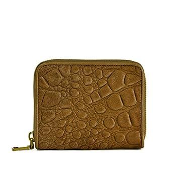 Liebeskind Women s Donate Reptil Calf Hair Leather Mini Zip Wallet  Brown