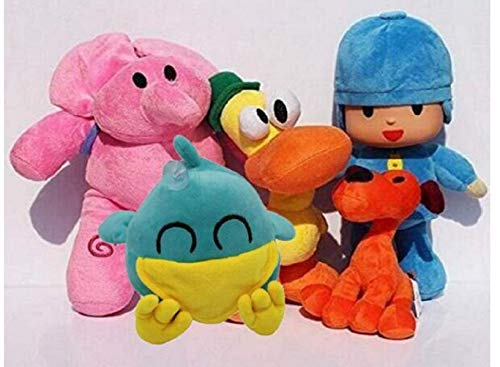 cvvbfgbfg Pocoyo Plush 14cm-30cm Bed Deco The Whole Set for Pocoyo Lovers Great Gifts (5 Pieces Set)