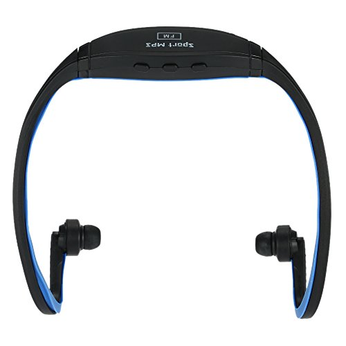 Compact Digital Music Player Dual-Channel Sports MP3 with FM Function Headphone Wireless Plug-in Card Headset Black +Blue for Multimedia Player