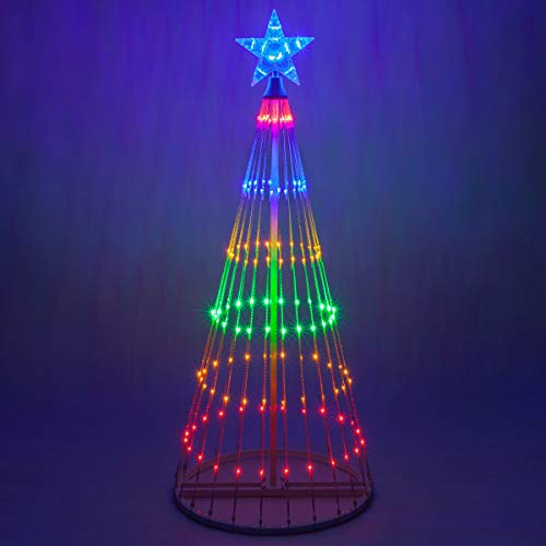Wintergreen Lighting 14-Function LED Light Show Cone Christmas Tree, Outdoor Christmas Decorations (9', Multicolor)