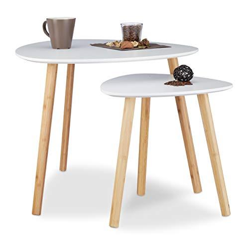 Relaxdays Satztisch 2er Set, platzsparende Beistelltische im nordischen Design, Blumentisch und Zeitungsablage, weiß