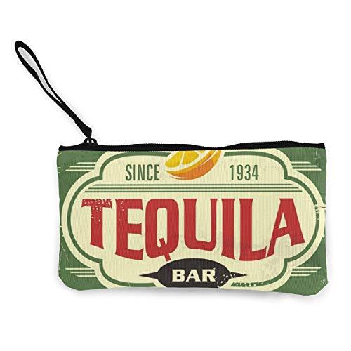 BHGYT Tequila Bar Vintage Zinn Frauen 'und Mädchen' Persönlichkeit Mode Retro kleine Mini quadratische Reißverschluss Münze Brieftasche, Tasche mit Handgelenkriemen Make-up Tasche Handy Bankkarte, G