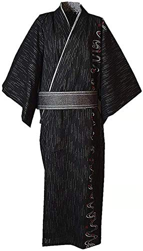 Double Villages Herren Japanisch Yukata Kimono Robe Pyjama Yukata Bademantel Robe (L, Schwarz A)