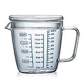 TAMUME Verres Doseur 500ml Pichet à Mesurer en Verre Tasse à Mesurer à Micro-Ondes avec Couvercle (500ML)